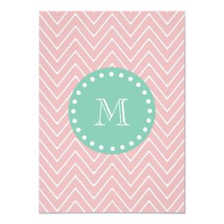 Pink Chevron Pattern | Mint Green Monogram 4.5x6.25 Paper Invitation Card