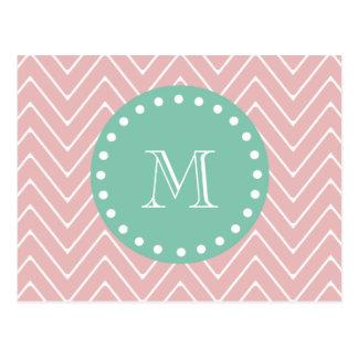 Pink Chevron Pattern | Mint Green Monogram Postcard