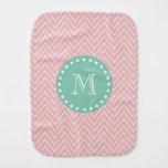 Pink Chevron Pattern | Mint Green Monogram Baby Burp Cloths