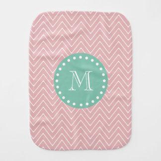 Pink Chevron Pattern   Mint Green Monogram Baby Burp Cloths