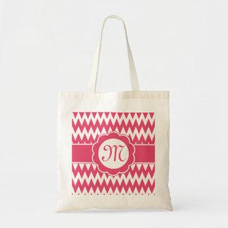 Pink Chevron Pattern & Monogram Flower Budget Tote Bag