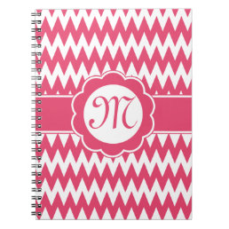 Pink Chevron Pattern & Monogram Flower Notebook