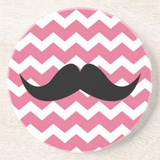 Pink chevron pattern mustache thirsty sandstone beverage coasters