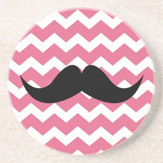 Pink chevron pattern mustache thirsty sandstone sandstone coaster