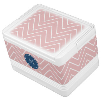 Pink Chevron Pattern | Navy Blue Monogram Drink Cooler