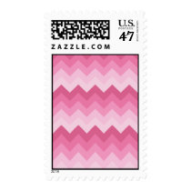 fashion, chevron, stripe, pink, zigzag, pattern, girly, modern, trendy, funny, cool, postage, stamp, Stamp with custom graphic design