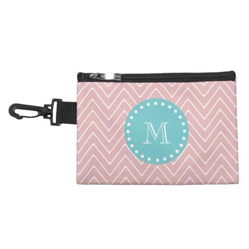 Pink Chevron Pattern | Teal Monogram Accessories Bag