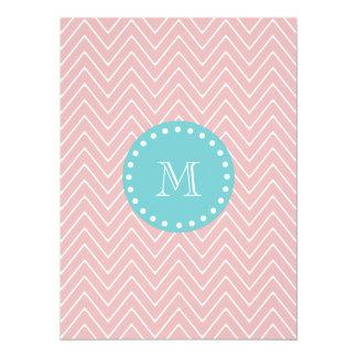 Pink Chevron Pattern | Teal Monogram 5.5x7.5 Paper Invitation Card