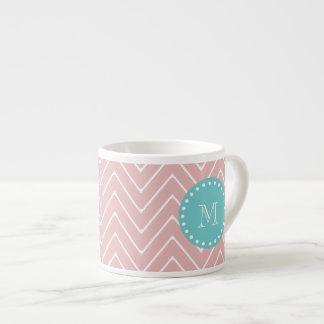 Pink Chevron Pattern | Teal Monogram Espresso Mug