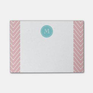 Pink Chevron Pattern | Teal Monogram Post-it® Notes