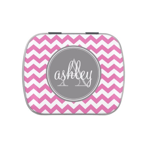 Pink Chevron Pattern with Custom Gray Monogram Candy Tin