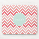 Pink Chevron Personalized Mouse Pads With Name