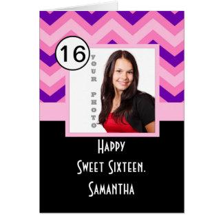 Pink chevron personalized sweet sixteen card
