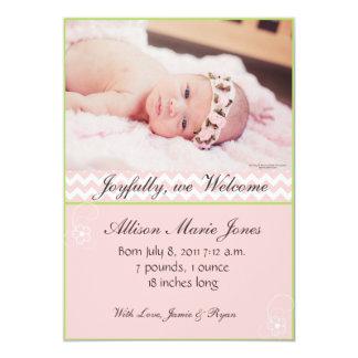 Pink Chevron Photo Baby Girl Announcement