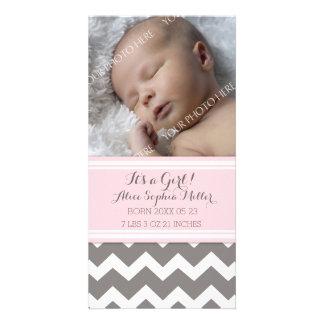 Pink Chevron Photo New Baby Birth Announcement