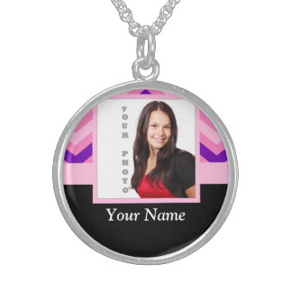 Pink chevron photo template sterling silver necklace