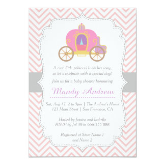 Pink Chevron, Princess Carriage, Girl Baby Shower Card