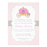 Pink Chevron, Princess Carriage, Girl Baby Shower Personalized Announcement