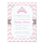 Pink Chevron, Princess Crown, Girl Baby Shower 4.5x6.25 Paper Invitation Card
