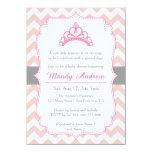 Pink Chevron, Princess Crown, Girl Baby Shower Card
