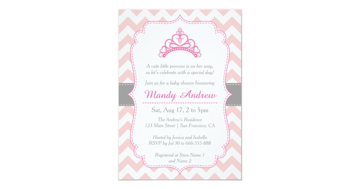 Pink Chevron, Princess Crown, Girl Baby Shower Card | Zazzle.com