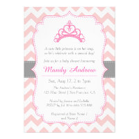 Pink Chevron, Princess Crown, Girl Baby Shower Invitations
