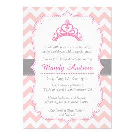 Pink Chevron, Princess Crown, Girl Baby Shower Invitations