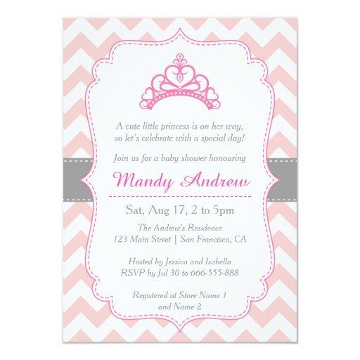 Baby Shower Themes Chevron ~ Pink chevron princess crown girl baby shower