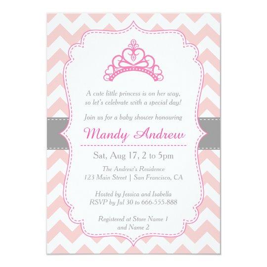 Pink chevron princess crown girl baby shower invitation zazzle pink chevron princess crown girl baby shower invitation filmwisefo