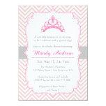 Pink Chevron, Princess Crown, Girl Baby Shower 4.5x6.25 Paper Invitation Card