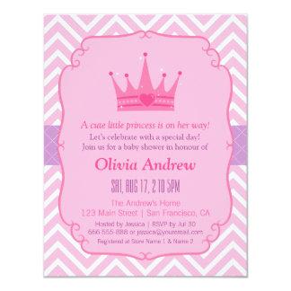 Pink Chevron Princess Tiara Crown Girl Baby Shower 4.25x5.5 Paper Invitation Card