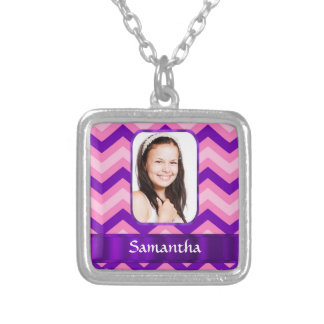 Pink chevron silver plated necklace