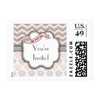 Pink Chevron Sip And See New Baby Girl Postage