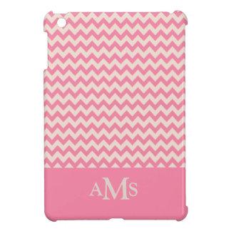 Pink Chevron Stripe 3  Monogram Cover For The iPad Mini