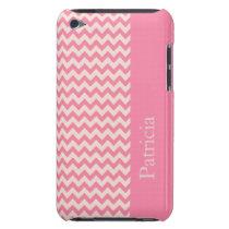 Pink Chevron Stripe Custom Name Case-Mate iPod Touch Case
