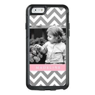 Pink Chevron Stripes Photo Frame OtterBox iPhone 6/6s Case