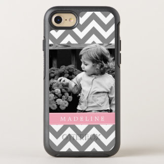 Pink Chevron Stripes Photo Frame OtterBox Symmetry iPhone 7 Case