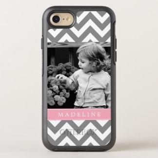 Pink Chevron Stripes Photo Frame OtterBox Symmetry iPhone 8/7 Case