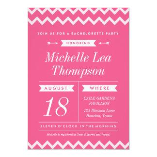Pink Chevron Stylish Bachelorette Invitations