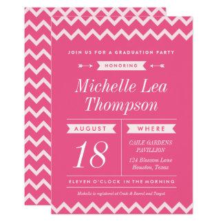 Pink Chevron Stylish Graduation Party Invitations