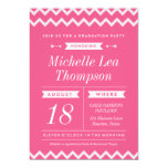 "Pink Chevron Stylish Graduation Party Invitations 5"" X 7"" Invitation Card"