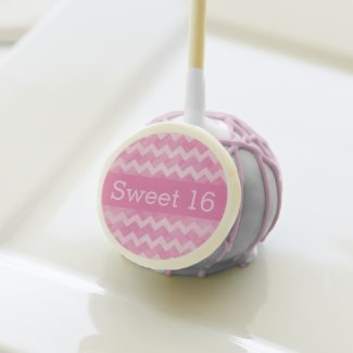 Pink Chevron Sweet 16 Cake Pops