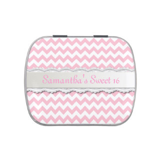 Pink Chevron Sweet 16 Party Favor Candy Tin