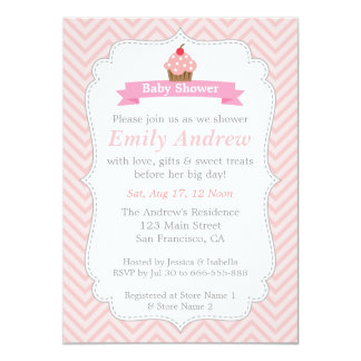 Pink Chevron, Sweet Cupcake, Baby Shower 4.5x6.25 Paper Invitation Card