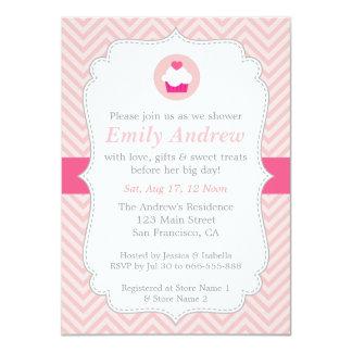 Pink Chevron, Sweet Cupcake, Baby Shower Card