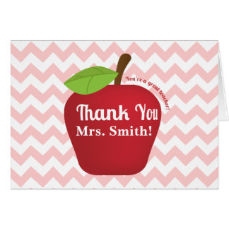 Pink Chevron, Teacher appreciation apple Card