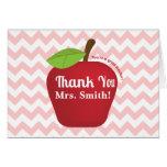 Pink Chevron, Teacher appreciation apple Greeting Card