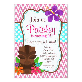 Pink Chevron, Tiki Man Luau Birthday Party 5x7 Paper Invitation Card