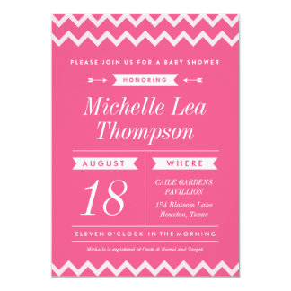 "Pink Chevron Trend Baby Shower Invitations 5"" X 7"" Invitation Card"