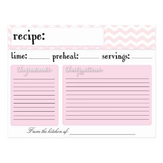 Pink Chevron Wedding Bridal Shower Recipe Cards
